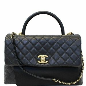 CHANEL Medium Coco Handle Caviar Leather Bag Black